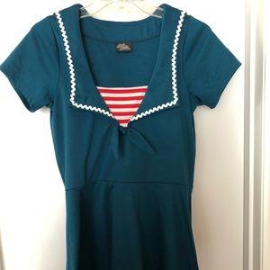 Sailor style teal dress